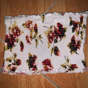 Ambiance white floral tube top size: S